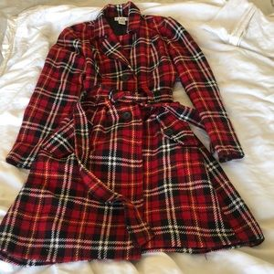 Red Plaid Trench Coat SZ. Small